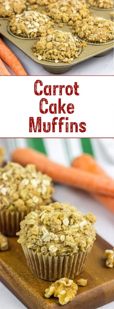 Topped with a brown sugar and walnut streusel, these Carrot Cake Muffins are a delicious way to start a weekend morning!