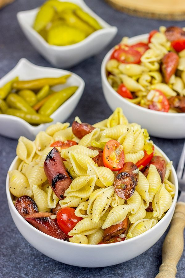With a nod to the Windy City, this Chicago Hot Dog Pasta Salad is a tasty way to celebrate warm summer days in the backyard!
