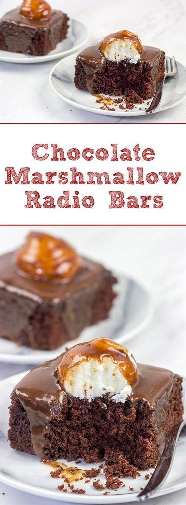These Chocolate Marshmallow Radio Bars feature a chocolate cake base topped with a scoop of marshmallow buttercream...oh yeah, and then they're covered in a chocolate glaze!