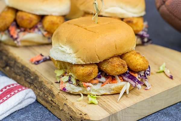 Fish sticks aren't just for kids anymore!  These Fish Stick Sliders are topped with a malt vinegar cole slaw, and they make for a fun (and tasty!) dinner.