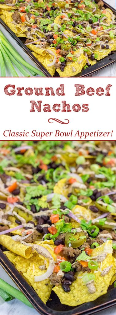 These Ground Beef Nachos are a classic sports food!  Grab a plate, turn on the game and enjoy!