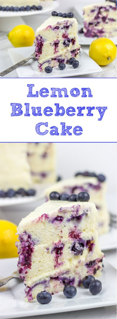 This Lemon Blueberry Cake is what happens when a muffin runs smack into the side of a cake! Featuring muffin-like layers of cake topped with lemon cream cheese frosting, this dessert is mighty tasty!