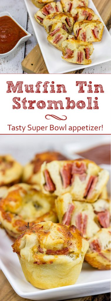 Muffin tins can be used for more than just breakfast! These Muffin Tin Stromboli are packed with Italian meats and cheeses, and they're the perfect football appetizer!