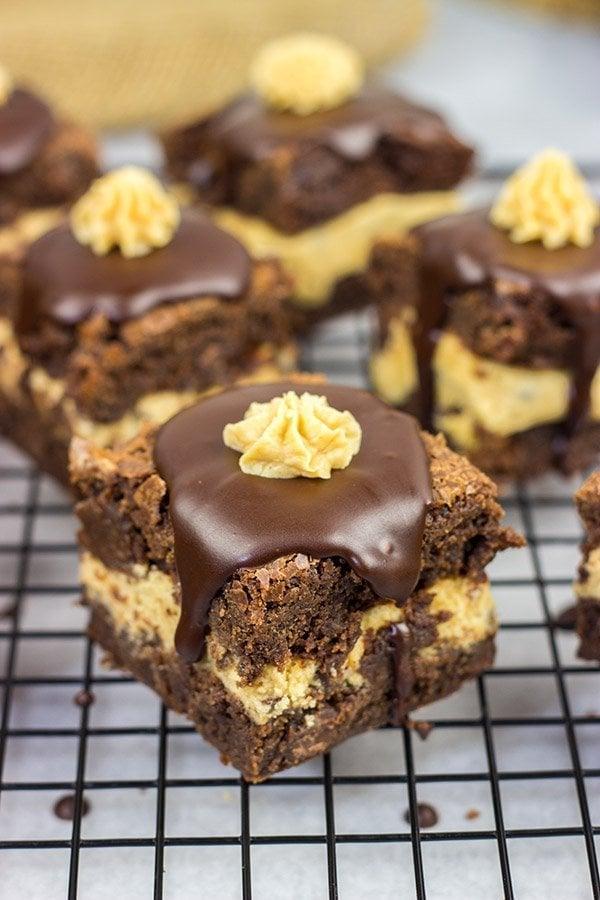 Peanut Butter Cookie Dough Stuffed Brownies