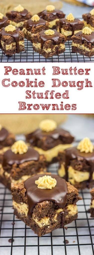 Looking for a dessert that's sure to impress your friends and family?  These Peanut Butter Cookie Dough Stuffed Brownies are a winner!