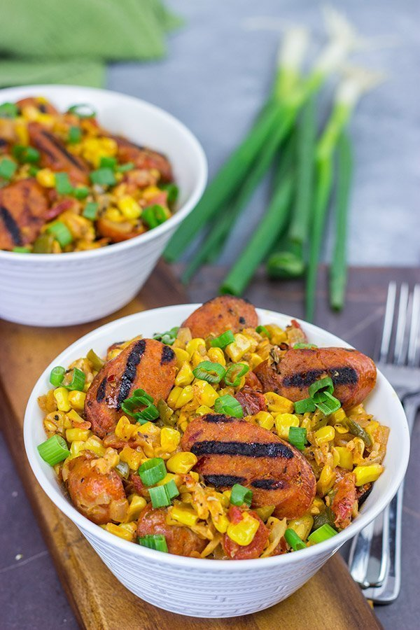 This Corn Maque Choux with Smoked Andouille Chicken Sausage is a classic southern Louisiana dish. It might be difficult to pronounce, but it's easy to make...and it's delicious, too!