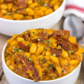 These Maple Baked Beans use slow-cooked with pure maple syrup instead of brown sugar, and the result is delicious! These are perfect for summer picnics!