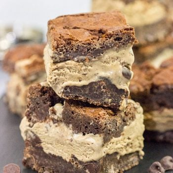 Need an afternoon pick me up? Grab one of these Mocha Ice Cream Brownie Sandwiches! Filled with no-churn mocha ice cream, these tasty treats are sure to be a hit!