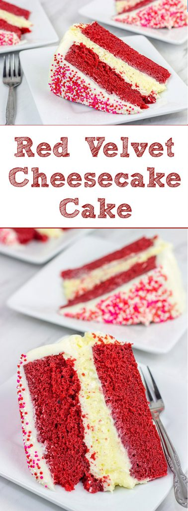 1 layer of cheesecake + 2 layers of red velvet cake = 3 layers of awesome! ThisRed Velvet Cheesecake Cakeis a tasty way to celebrate Valentine's Day...or any other day of the year!