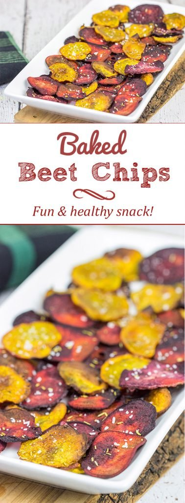Seasoned with a bit of rosemary and salt, these Baked Beet Chips make for a fun and healthy snack!