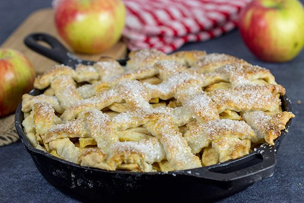 This Cast Iron Apple Pie uses a mix of Honeycrisps and green apples for the perfect combination of flavors. Grab that cast iron skillet and bake a pie for dessert!