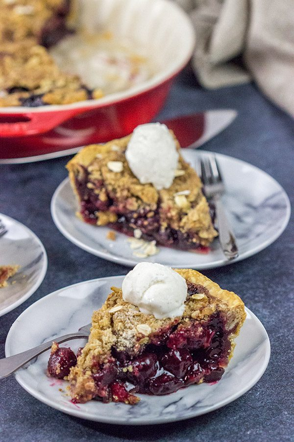 Crumb Topping on Cherry Pie Slices
