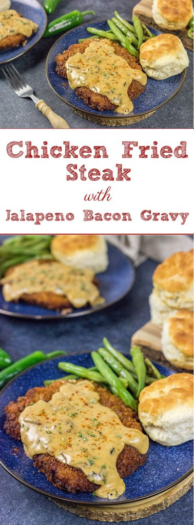 Chicken Fried Steak is a classic comfort food! Jalapeno Bacon Gravy takes this one to a whole new level of deliciousness!