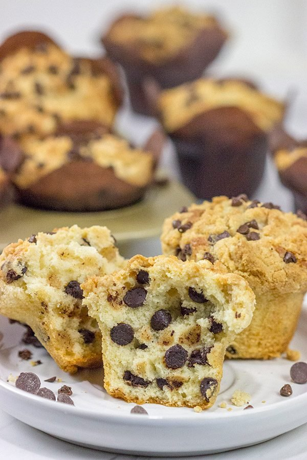 Packed with chocolate chips and topped with a brown sugar streusel, these Chocolate Chip Muffins are a delicious treat for any time of the day!
