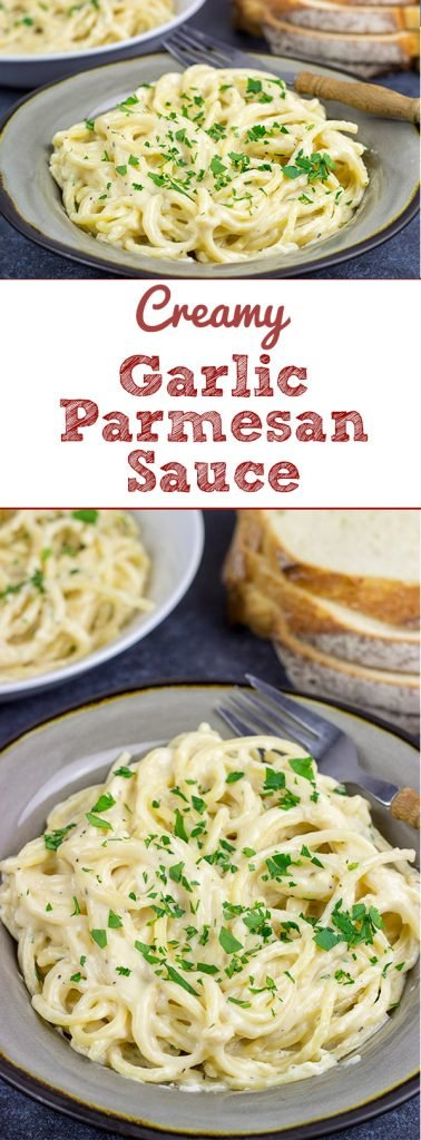 This Garlic Parmesan Sauce is not only creamy and delicious, but it's ready in about the same time it takes to cook pasta.  Coincidence?  I think not!