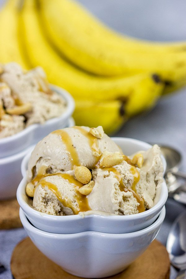 It's hard to beat creamy ice cream on a hot summer day.  Cool off with a batch of this Peanut Butter Banana Ice Cream!