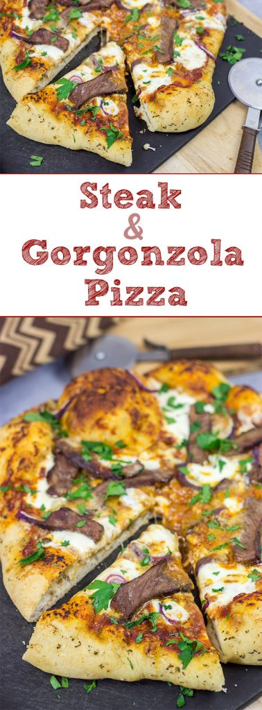 Mix up pizza night this week!  This Steak and Gorgonzola pizza features seared ribeye steak along with dollops of creamy mozzarella and gorgonzola cheese.  Yum!