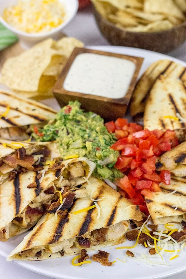 Turn up the flavor on dinner with these Chicken Bacon Ranch Quesadillas! (And since the grill is hot, go ahead and grill the 'dillas, too!)