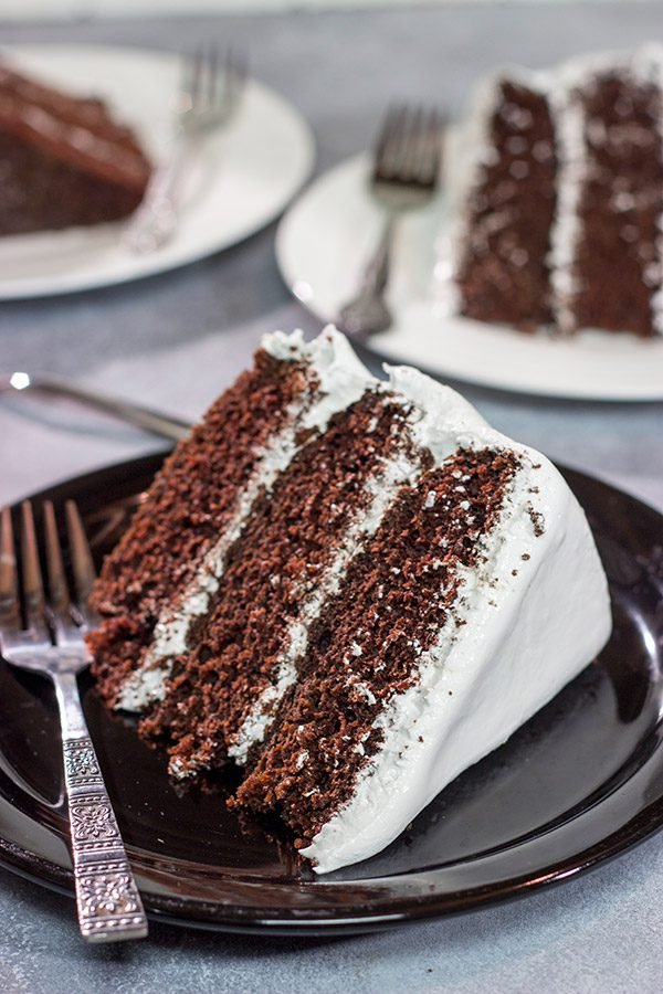 Featuring a rich, moist chocolate cake topped with an airy 7 minute frosting, this Devil's Food Cake is sure to satisfy your sweet tooth!