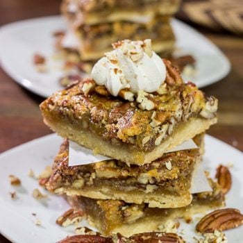 There's a reason why pecan pie is a holiday staple! These Pecan Pie Bars feature a buttery shortbread crust topped with a gooey pecan pie filling. They're perfect for grabbing and gobbling!