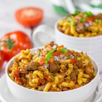 This Slow Cooker Chili Mac will remind you of childhood comfort food in the best way possible! Plus, it's an easy recipe for busy days!