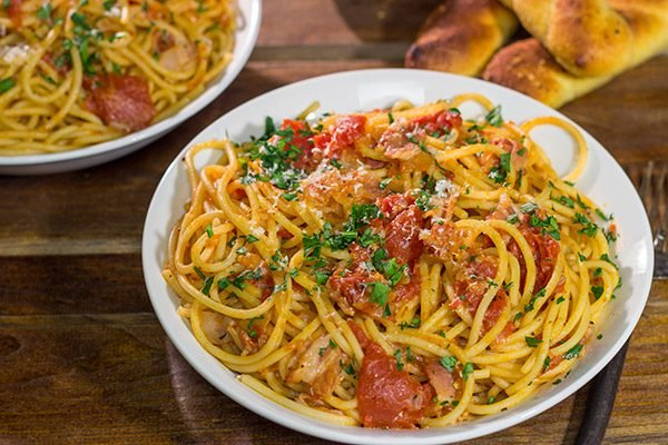 Spaghetti all'Amatriciana is a classic and delicious Italian pasta dish. It's loaded with layers of flavor, and it'll become a family favorite for sure!