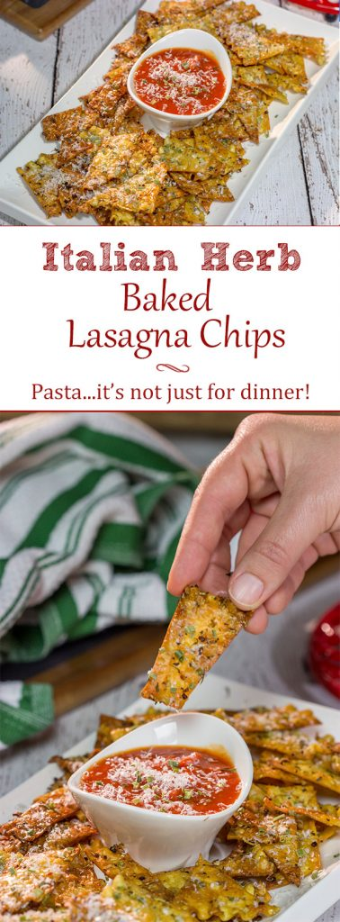 Looking for a fun snack to serve during football season? These Italian Herb Baked Lasagna Chips are a unique (and tasty) addition to the appetizer menu!