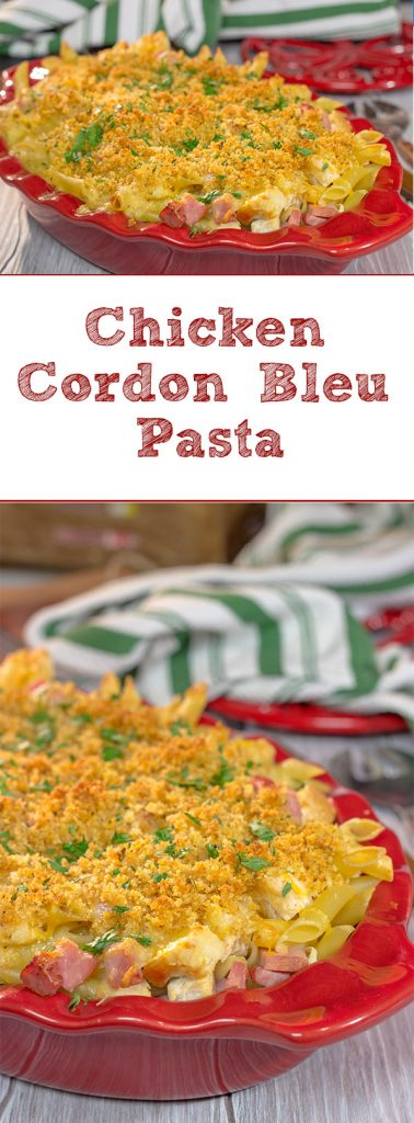 Say hello to a fun new pasta bake! This Chicken Cordon Bleu Pasta features a delicious combination of chicken, ham, cheese and pasta. Bake it up for dinner tonight!