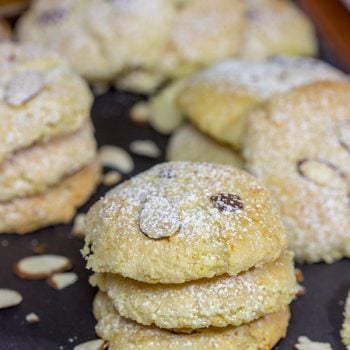 These Italian Almond Cookies are packed with almond and citrus flavor! With a light, chewy texture, these tasty cookies pair well with a glass dessert wine. Cheers!