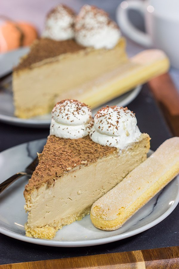 Featuring a ladyfinger crust topped with espresso cheesecake, this Tiramisu Cheesecake is a fun twist on a classic Italian dessert!