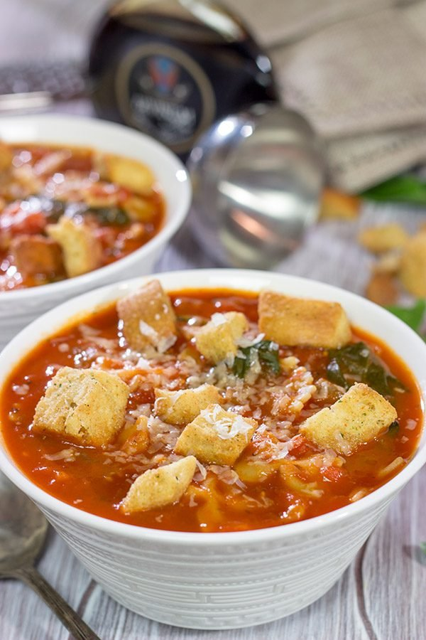 This Tomato Florentine Soup is packed with tons of flavor...and it's ready in less than 30 minutes! It's a great way to warm up on a cold day!