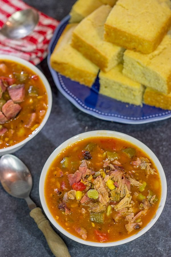 It's not often you get to include BBQ sauce in a stew! This Brunswick Stew is loaded with smoked meats and veggies - perfect comfort food for a cold winter night!