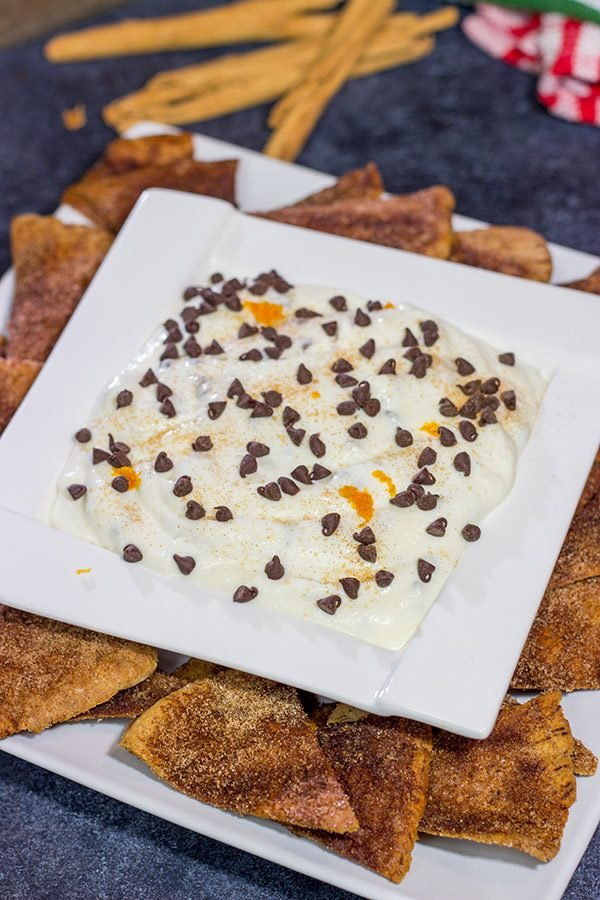 Don't forget the sweet treats on your appetizer table! This Cannoli Dip with Cinnamon Sugar Pita Chips takes almost no time to make. It's sure to be a party favorite!