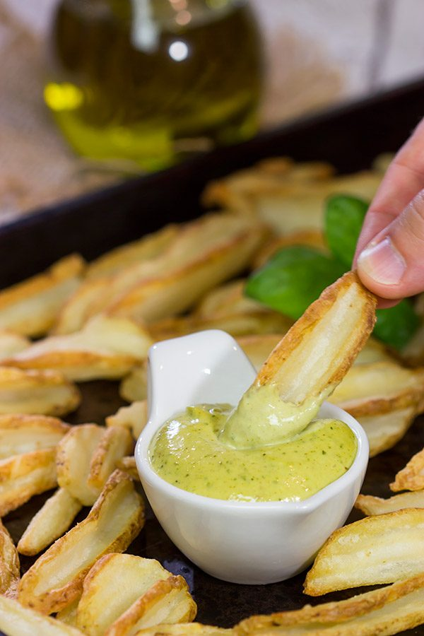 This Garlic Pesto Aioli makes for an excellent fry dipping sauce...and it's ready in less than 5 minutes!