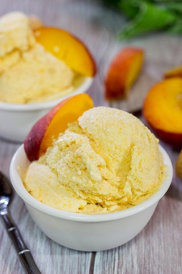 Homemade Peach Ice Cream - Made with fresh summer peaches!