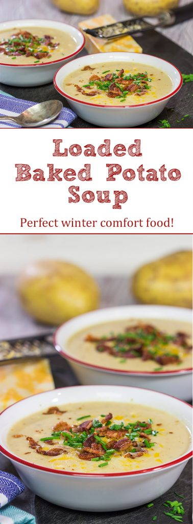 Loaded baked potato meets comforting creamy soup.  This Loaded Baked Potato Soup is a bowl of pure comfort food, and it's sure to keep you warm on cold winter nights!Loaded baked potato meets comforting creamy soup.  This Loaded Baked Potato Soup is a bowl of pure comfort food, and it's sure to keep you warm on cold winter nights!
