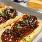 Slow Cooker BBQ Meatball Subs