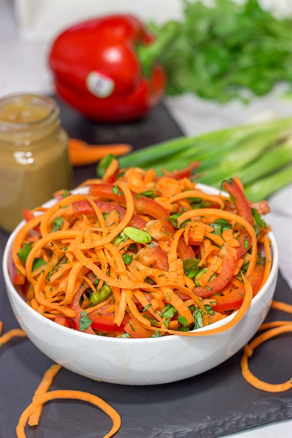 Looking for an easy, healthy side dish?  These Thai Peanut Carrot Noodles are packed with flavor, and they take only a few minutes to make!