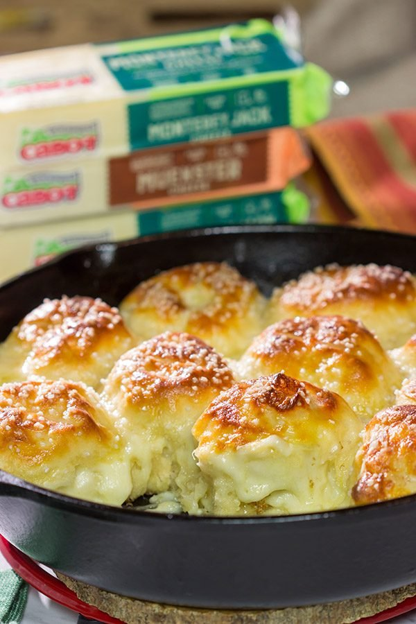 Filled with 2 types of Cabot cheese, these Cheesy Stuffed Pretzel Bites are the perfect way to celebrate Oktoberfest and gamedays in the Fall!