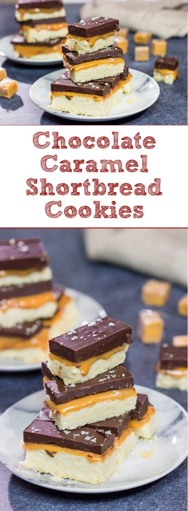 Featuring a combination of sweet and salty, these Chocolate Caramel Shortbread Cookies are the perfect sweet treat for finishing an evening!