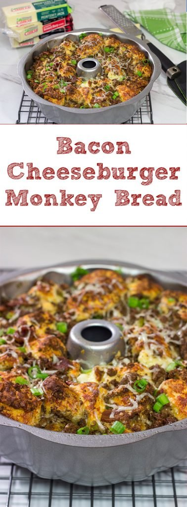 Packed with seasoned ground beef, bacon and two types of cheese, this Bacon Cheeseburger Monkey Bread makes for one heck of a delicious gameday appetizer!