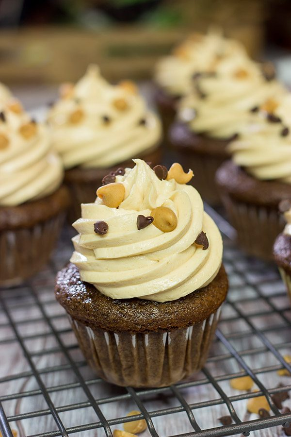 These Chocolate Peanut Butter Cupcakes are a classic sweet treat. Topped with a creamy frosting, these cupcakes are sure to be a hit in your house!