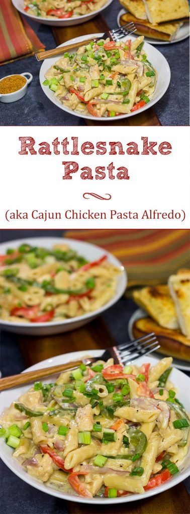 This Rattlesnake Pasta is essentially Cajun Chicken Pasta Alfredo. That sounds delicious in its own right, but Rattlesnake Pasta adds an element of intrigue!