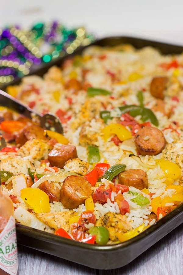 Looking for an easy and delicious dinner idea? This Sheet Pan Jambalaya is a new favorite in our house! (And it tastes amazing for leftover lunch the next day, too!)