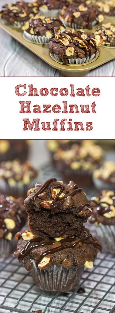Topped with chocolate chips and chopped hazelnuts, these Chocolate Hazelnut Muffins make for an excellent morning...or afternoon...treat!