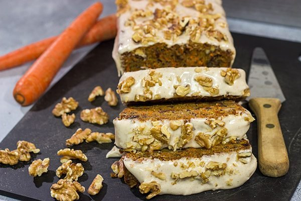 Garnished with toasted walnuts, a slice of this Iced Carrot Cake makes for a great mid-morning treat along with a cup of coffee!