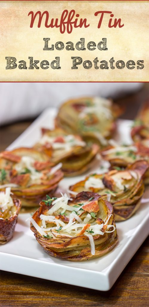 Topped with your favorite baked potato toppings, these Muffin Tin Loaded Baked Potatoes are a fun and tasty side dish!