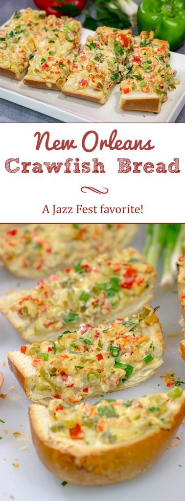 New Orleans Crawfish Bread is a Jazz Fest favorite! Can't make it to Jazz Fest this year? Make a batch of this crawfish bread at home instead!