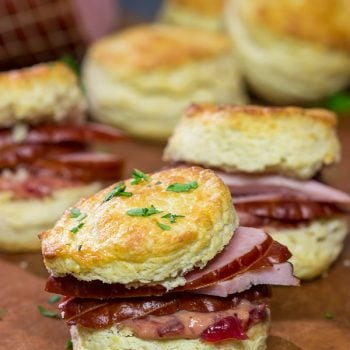 Looking for a tasty and easy way to use holiday leftovers? These Ham Biscuits with Cranberry Mustard are a great choice!