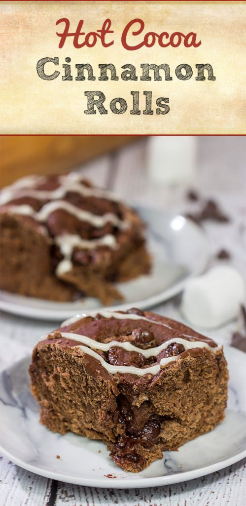 Inspired by two favorite winter recipes, these Hot Cocoa Cinnamon Rolls feature chocolaty rolls drizzled with a marshmallow glaze. They're perfect for cold winter days!